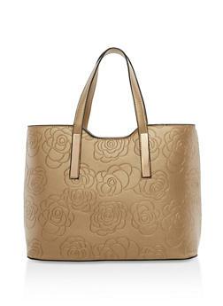 Flower Embossed Tote Bag - 1124073895617