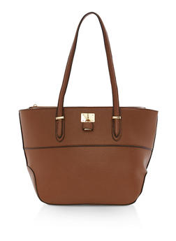 Faux Leather Tote Bag with Lock Detail - 1124073895682