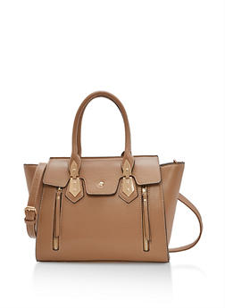 Faux Leather Double Zip Satchel - 1124073895693