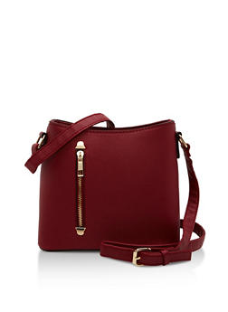Textured Faux Leather Crossbody Bag with Front Zip - 1124073895707