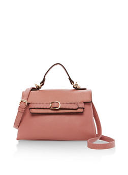 Faux Leather Fold Over Handbag with Belt Detail - 1124073895709