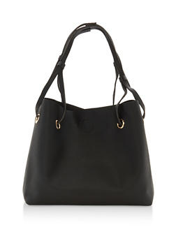 Textured Faux Leather Double Strap Tote - 1124073895747