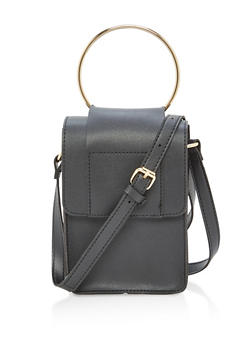 Faux Leather Crossbody Bag with Metal Ring Detail - 1124073895783