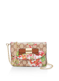 Floral Faux Leather Crossbody Bag - 1124073895911