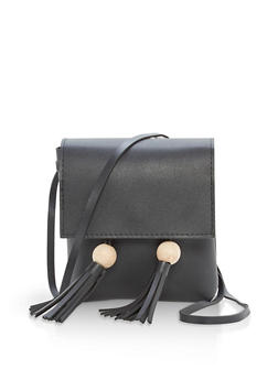 Faux Leather Tassel Crossbody Bag - 1124073895935