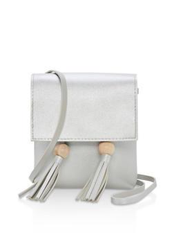 Faux Leather Tassel Crossbody Bag - 1124073895935
