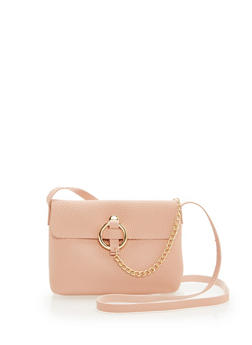 Faux Leather Chain Detail Crossbody Bag - 1124073895957