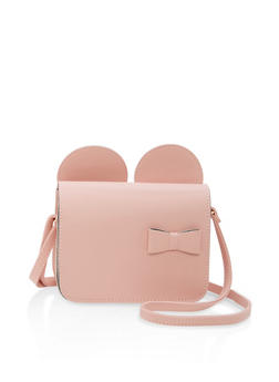 Faux Leather Bow Ears Crossbody Bag - 1124073895959