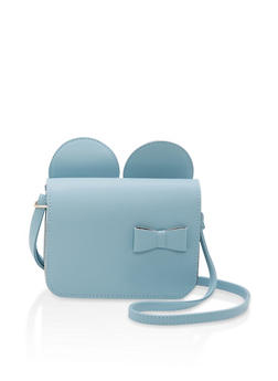 Faux Leather Bow Ears Crossbody Bag - 1124073895959
