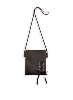 Faux Leather Lace Up Crossbody Bag - 1124073896015