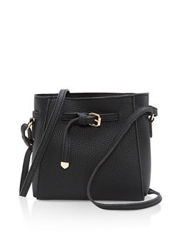 Textured Faux Leather Crossbody Bag - 1124073896035