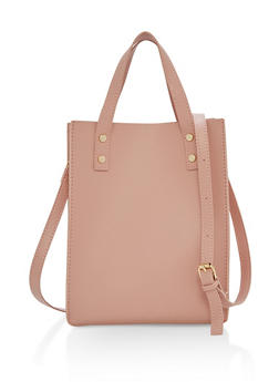 Small Faux Leather Shopper Tote Bag - 1124073896040