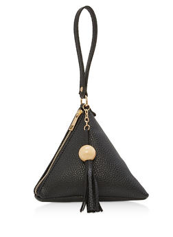 Textured Faux Leather Pyramid Wristlet - 1124073896093
