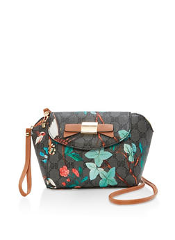 Printed Faux Leather Crossbody Bag - 1124073896101