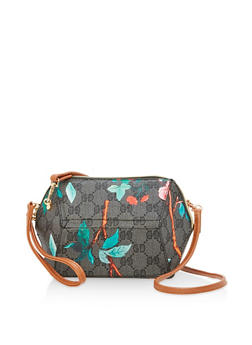 Printed Faux Leather Geometric Crossbody Bag - 1124073896106