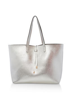 Large Textured Faux Leather Tote Bag - 1124074111050