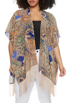 Abstract Print Kimono with Fringe Trim - 1125064101372