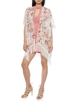 Fringed Hem Floral Kimono - 1125064101788
