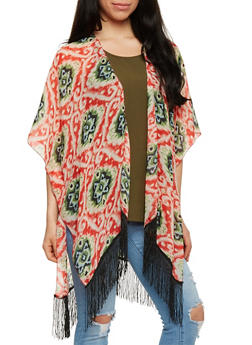 Printed Open Front Kimono with Fringe Trim - 1125065951003