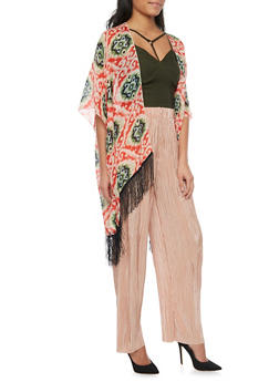 Open Front Fringed Hem Kimono Scarf - 1125065955300