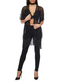 Mesh Lace Kimono with Fringe Trim - 1125067440008