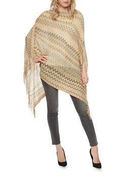 Knit Chevron Poncho with Fringe - 1125067443602