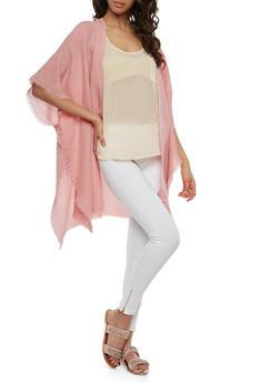 Textured Knit Open Front Kimono - 1125067445308
