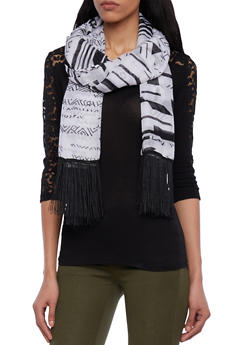 Fringed Scarf in Abstract Print - 1125067446003