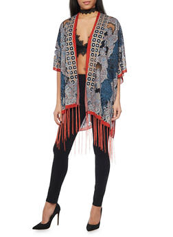 Printed Mesh Open Front Kimono with Fringe - 1125067447003