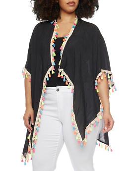 Lightweight Kimono with Multi Color Tassel Trim - 1125067447015