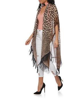 Long Leopard Print Kimono with Fringe Trim - 1125067447017