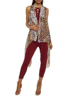 Draped Asymmetrical Leopard Print Vest - 1125067447018