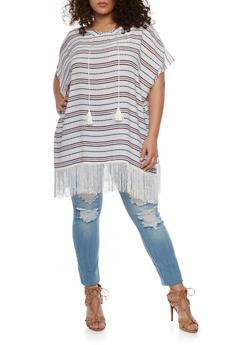 Striped Poncho with Fringe Trim - 1125067447019