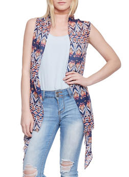 Tribal Print Open Front Cardigan - 1125067447029