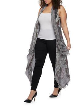 Plus Size Aztec Asymmetrical Duster Vest with Frayed Trim - 1125067447044