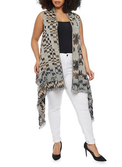 Printed Asymmetrical Vest with Open Front Neckline - 1125067447046