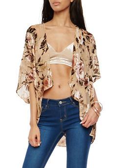 Floral Glitter Velvet Burnout Kimono - 1125067447062