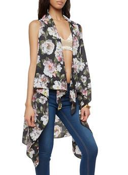 Floral Crepe Knit Drape Front Duster - 1125067448001