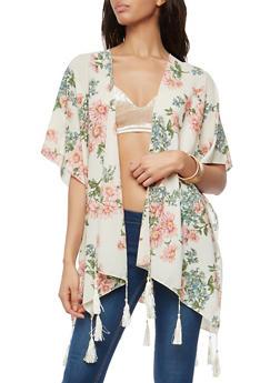 Floral Crepe Knit Kimono with Tassel Fringe - 1125067448002