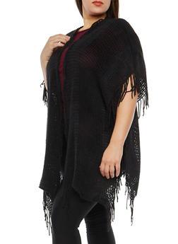 Fringe Knit Kimono - 1125067448012