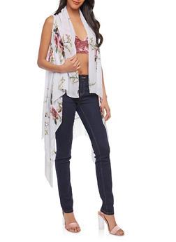 Sleeveless Floral Fringe Duster - 1125067448028