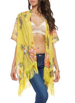 Fringe Detail Floral Kimono - 1125067448031