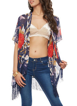 Large Floral Print Kimono with Fringe Detail - 1125067448032
