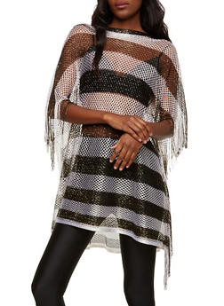 Striped Glitter Knit Poncho - 1125067448046
