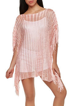Woven Shimmer Knit Poncho - 1125067448048