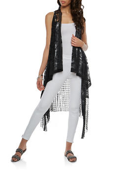 Patterned Lace Fringe Duster - 1125067448051