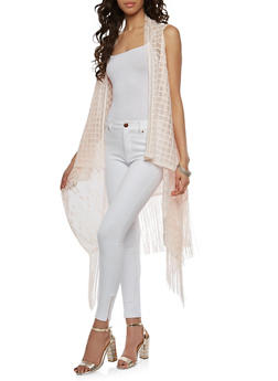 Floral Windowpane Lace Fringe Duster - 1125067448052