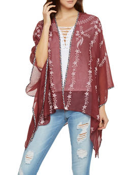 Sheer Open Front Star Print Kimono - 1125072341007
