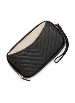 Color Block Wristlet Bag in Quilted Faux Leather - 1126041651740