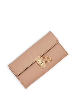 Textured Faux Leather Wallet with Chain Lock Accent - 1126041651750